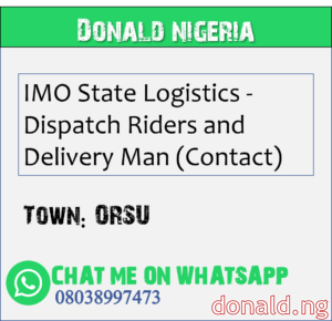 ORSU - IMO State Logistics - Dispatch Riders and Delivery Man (Contact)